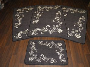 ROMANY GYPSY MATS WASHABLES NEW 2017 GREY SCROLL  FULL SET OF 4 MATS/RUGS FLOWER